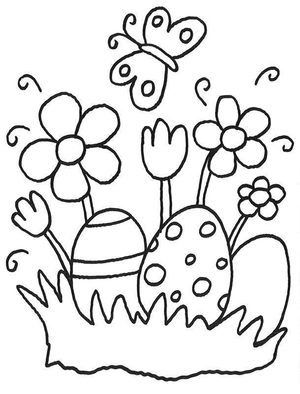 Ausmalbild Ostern Ostereier Und Osterblumen Kostenlos Ausdrucken