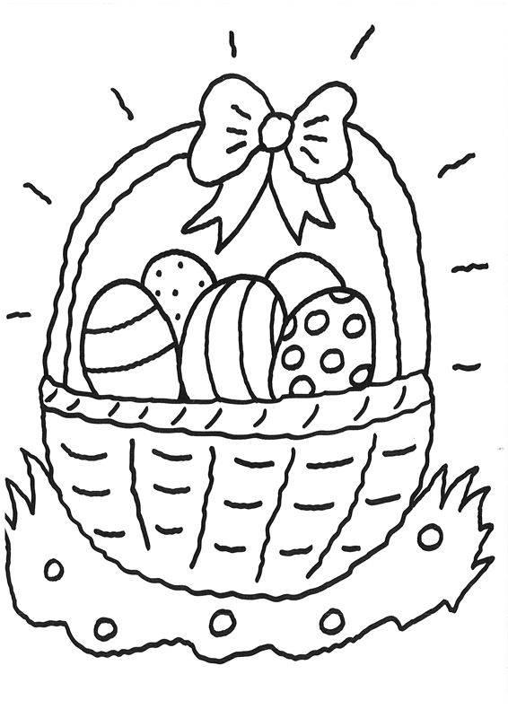 Ausmalbild Ostern: Ostereierkorb zum Ausmalen kostenlos ausdrucken