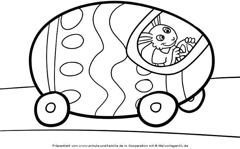 Ausmalbild Ostern: Osterhase und sein Auto kostenlos ausdrucken