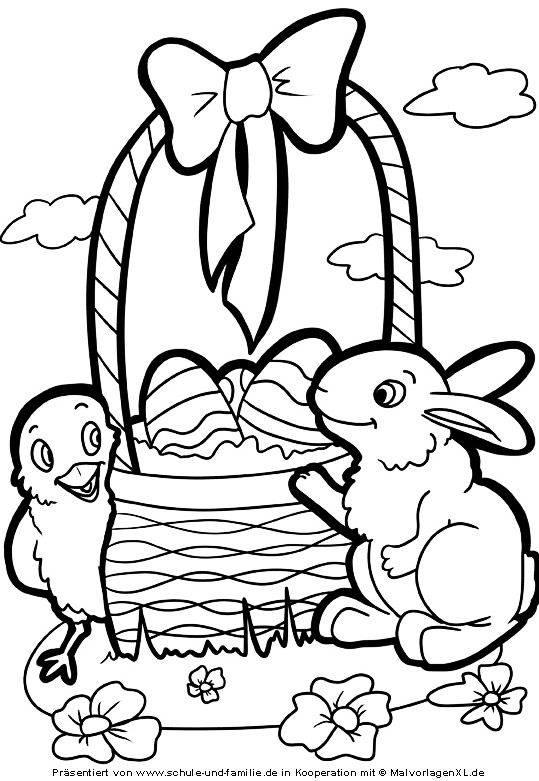 Ausmalbild Ostern: Osterkorb kostenlos ausdrucken
