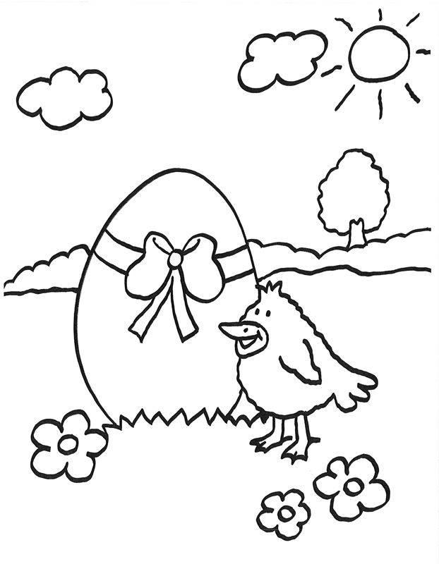 kostenlose malvorlage ostern: vogel mit riesigem osterei
