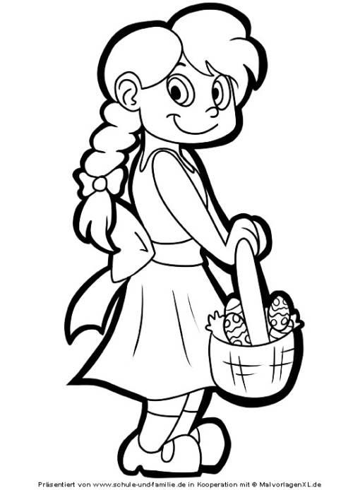 Kostenlose Malvorlage Ostern: Mädchen mit Ostereiern zum Ausmalen ...