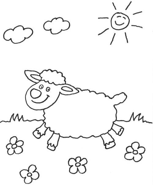 Kostenlose Malvorlage Tiere: Schaf auf der Wiese zum Ausmalen