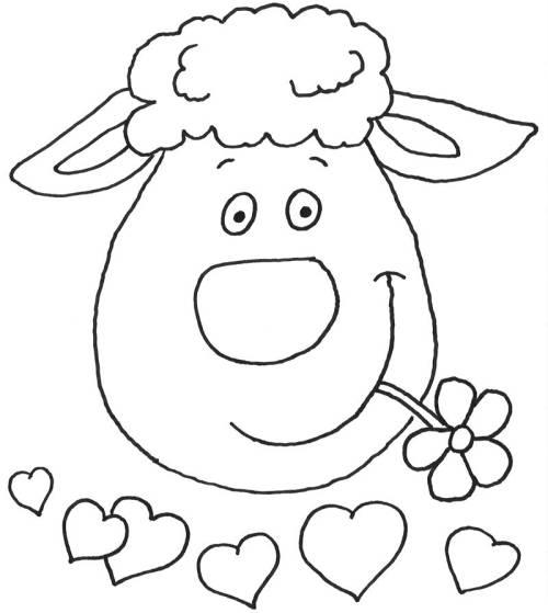 Kostenlose Malvorlage Tiere: Verliebtes Schaf zum Ausmalen