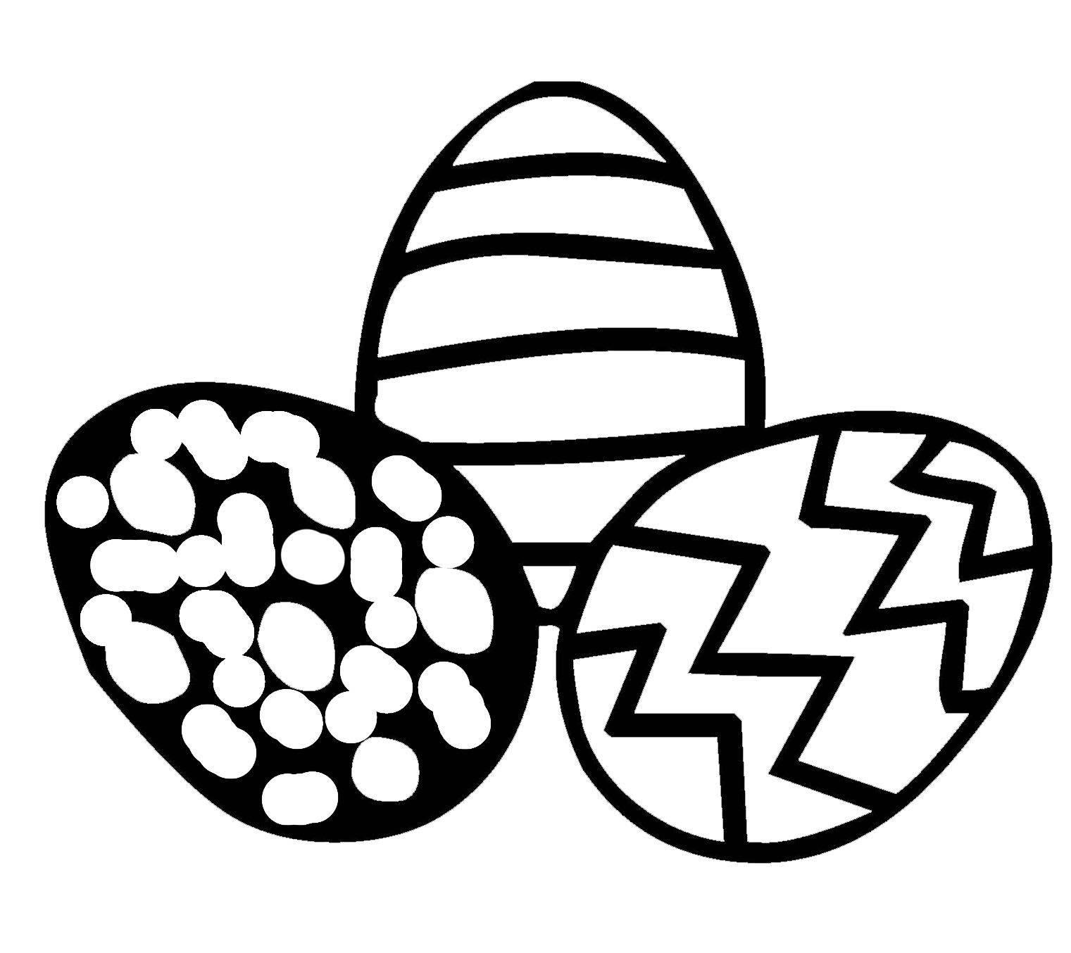 Ausmalbild Ostern: Drei Ostereier kostenlos ausdrucken
