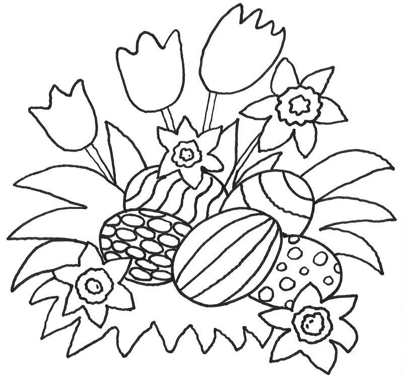 Ausmalbild Ostern Blumen Und Ostereier Kostenlos Ausdrucken