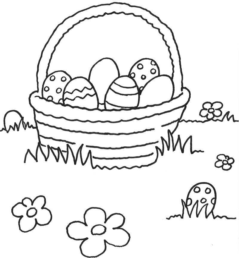 Ausmalbild Ostern Korb Mit Ostereiern Zum Ausmalen Kostenlos Ausdrucken