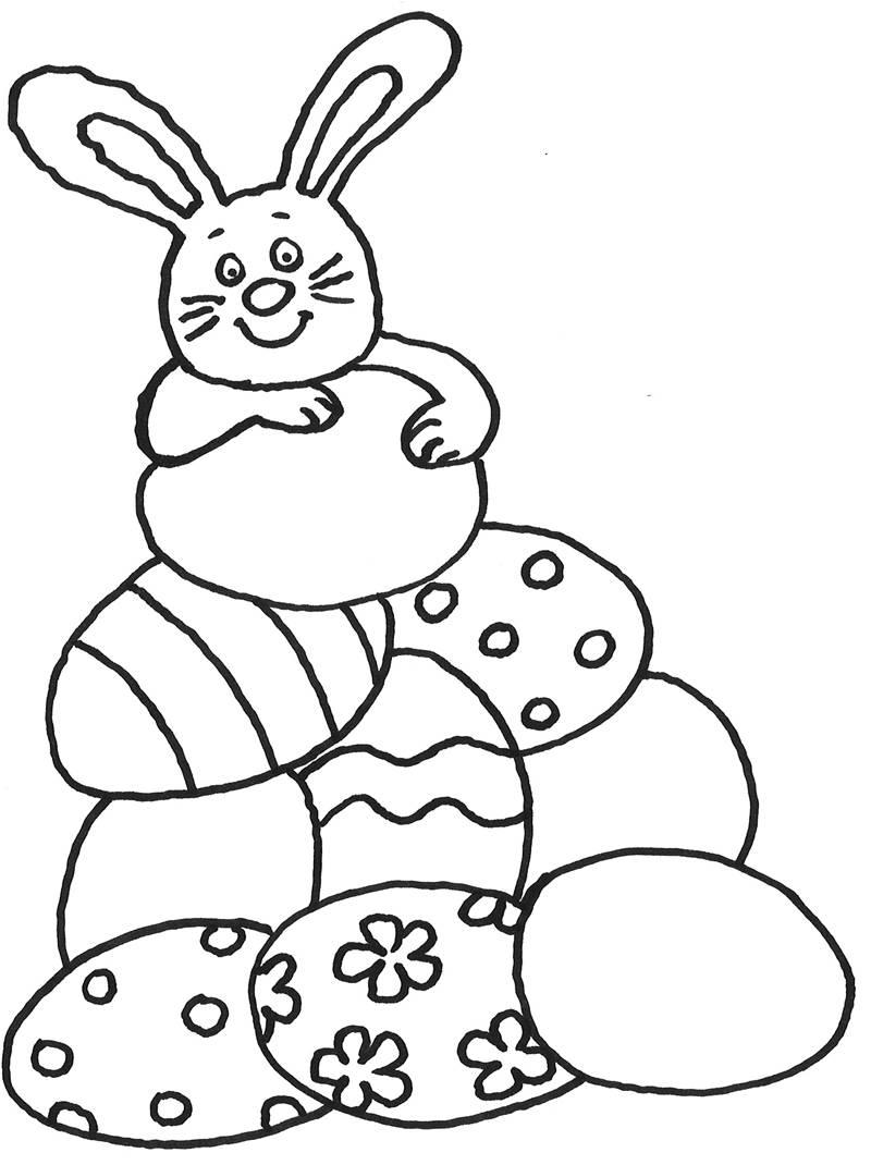 Ausmalbild Ostern: Osterhase mit vielen Ostereiern kostenlos ausdrucken