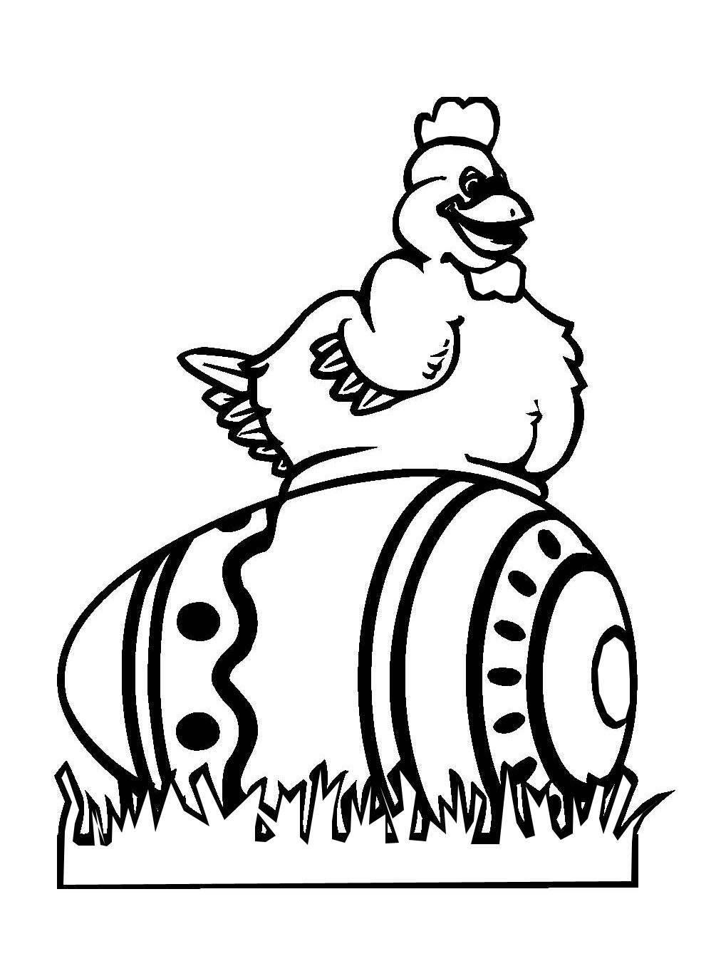 Ausmalbild Ostern: Henne auf dem Osterei zum Ausmalen kostenlos ...