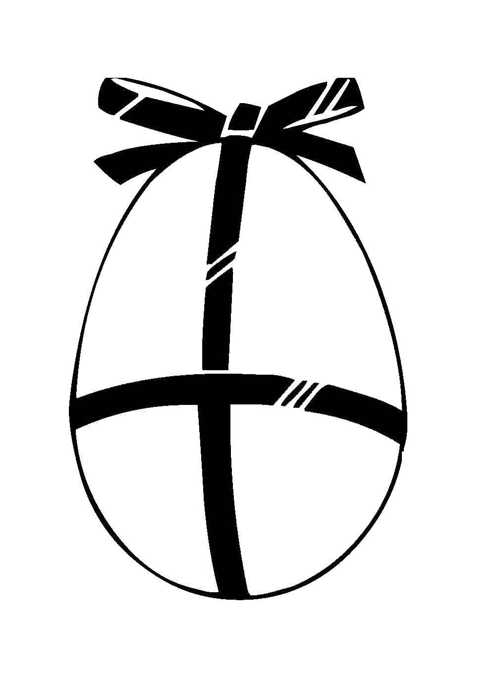 Kostenlose Malvorlage Ostern: Osterei mit Schleife zum Ausmalen