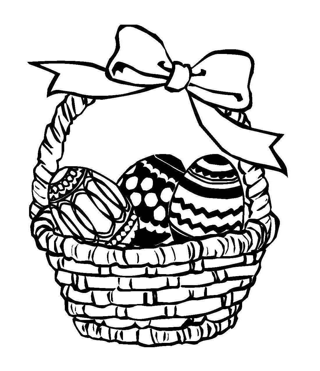 Kostenlose Malvorlage Ostern: Osterkorb mit Schleife zum Ausmalen