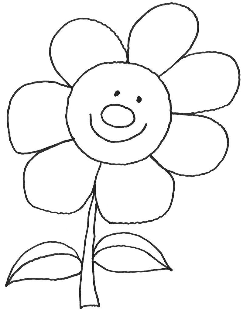 Kostenlose Malvorlage Natur: Lachende Sonnenblume zum Ausmalen