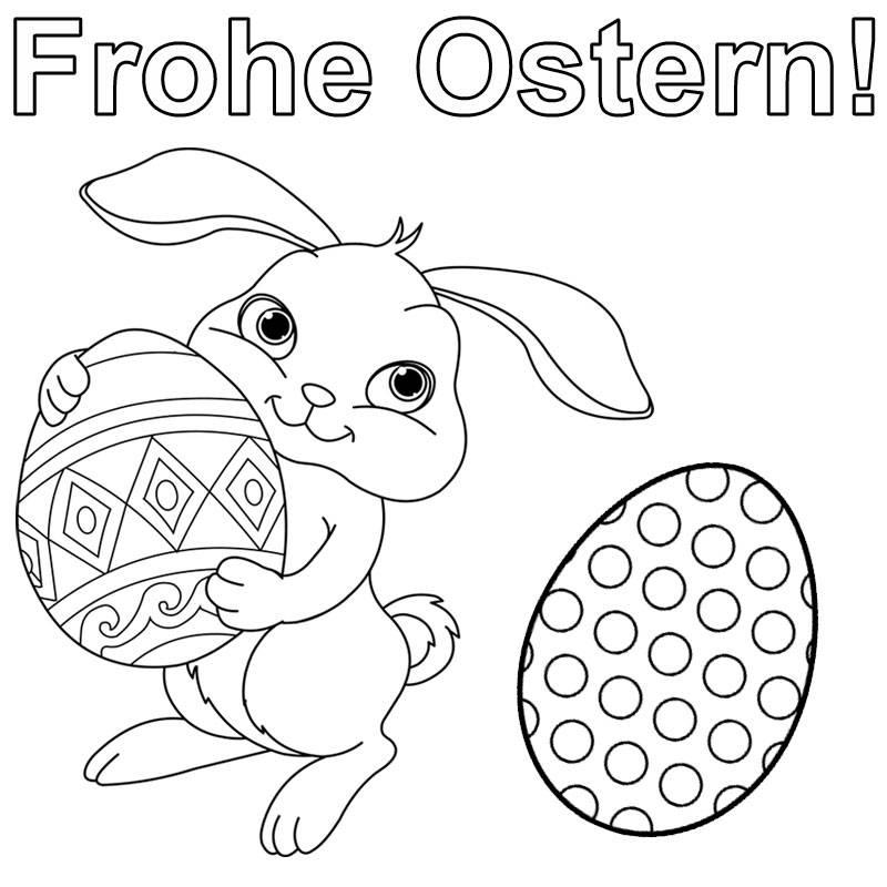 Kostenlose Malvorlage Ostern: Hase wünscht frohe Ostern zum Ausmalen