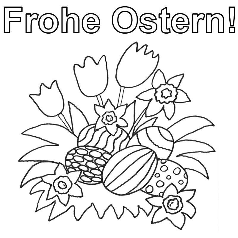 Ausmalbild Ostern Ostereier Zwischen Frühlingsblumen Ausmalen