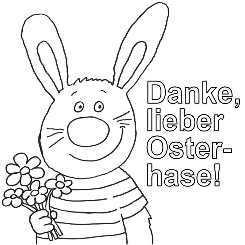 Ausmalbild Ostern: Osterhasen-Grüße kostenlos ausdrucken
