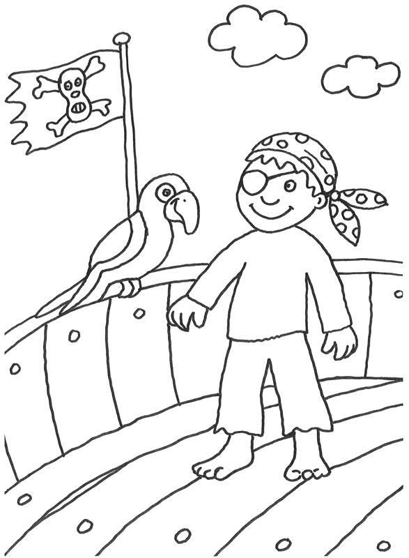 Kostenlose Malvorlage Piraten: Pirat mit Papagei zum Ausmalen