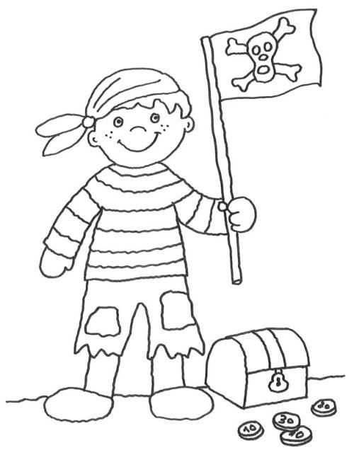 Kostenlose Malvorlage Piraten: Pirat mit Fahne zum Ausmalen