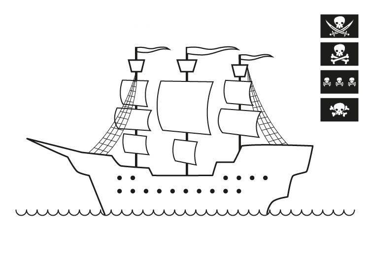Ausmalbild Piraten Piratenschiff Zum Ausmalen Kostenlos Ausdrucken