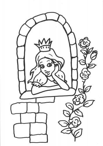 Kostenlose Malvorlage Prinzessin Prinzessin Am Fenster Ausmalen Zum