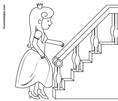 Kostenlose Malvorlage Prinzessin Prinzessin An Der Treppe Zum Ausmalen