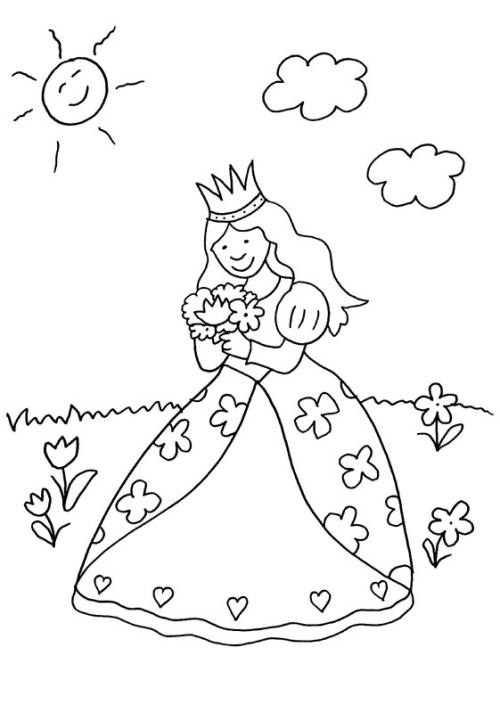 Kostenlose Malvorlage Prinzessin: Prinzessin pflückt Blumenstrauß
