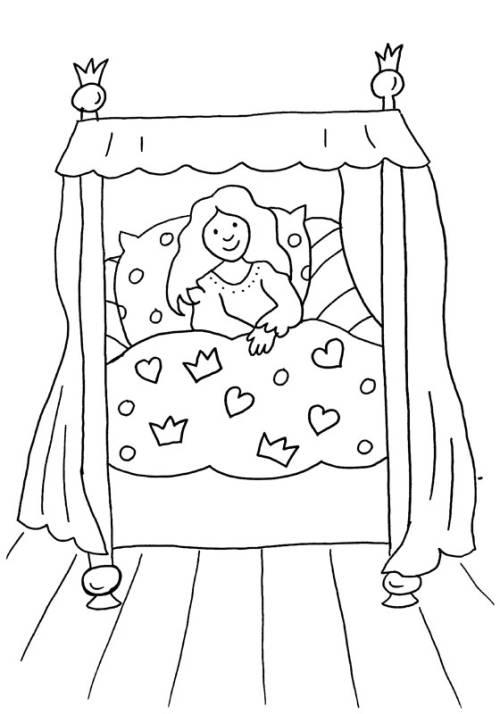kostenlose malvorlage prinzessin prinzessin im himmelbett. Black Bedroom Furniture Sets. Home Design Ideas
