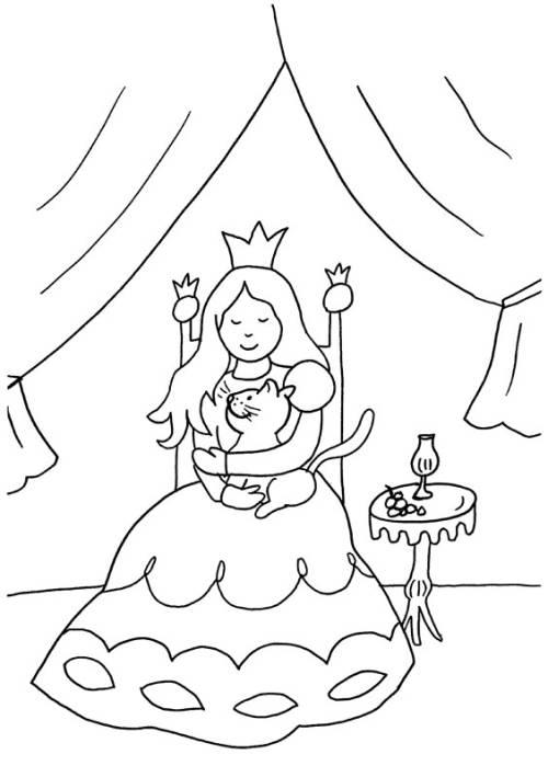 Kostenlose Malvorlage Prinzessin: Prinzessin und Katze zum Ausmalen