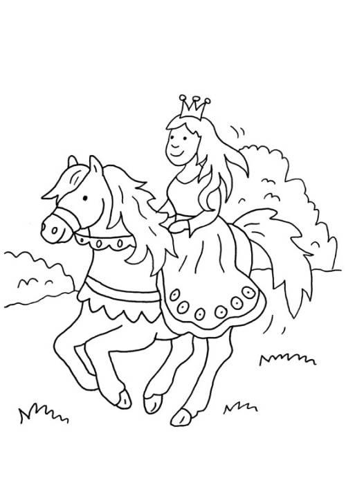 Kostenlose Malvorlage Prinzessin: Prinzessin reitet auf ihrem