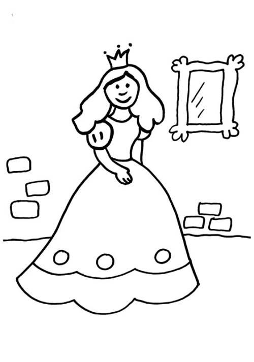 Kostenlose Malvorlage Prinzessin Prinzessin Vor Dem Spiegel Zum