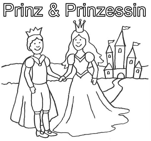 Ausmalbild Prinzessin: Prinz und Prinzessin mit Schloß ...