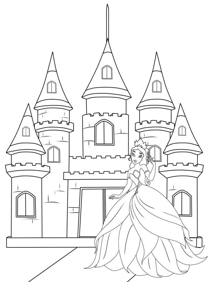 Ausmalbild Prinzessin: Prinzessin vor ihrem Schloss zum Ausmalen