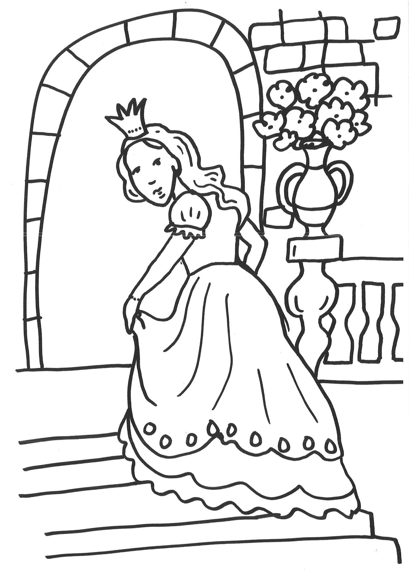 Ausmalbild Prinzessin Prinzessin Auf Der Treppe Ausmalen Kostenlos