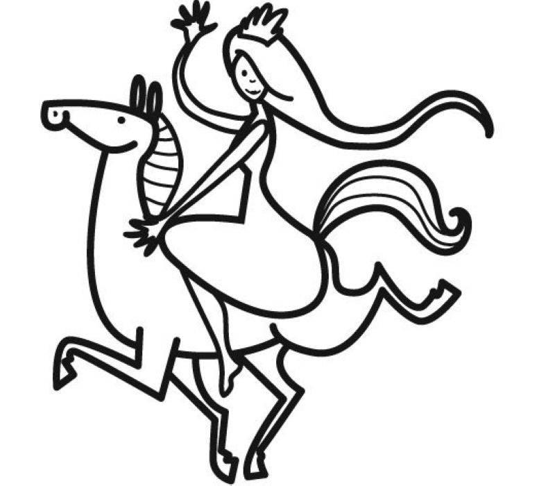 Ausmalbild Prinzessin Prinzessin Auf Ihrem Pferd Kostenlos