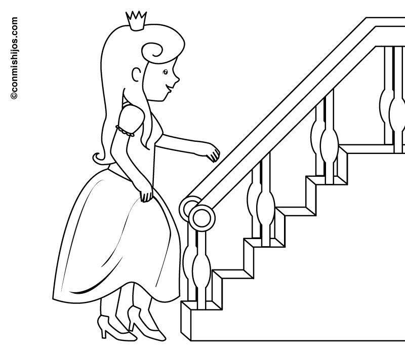 Ausmalbild Prinzessin: Prinzessin an der Treppe kostenlos ausdrucken
