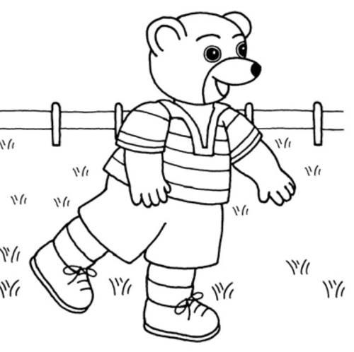 Kostenlose Malvorlage SamSam: brauner Bär im Garten zum Ausmalen