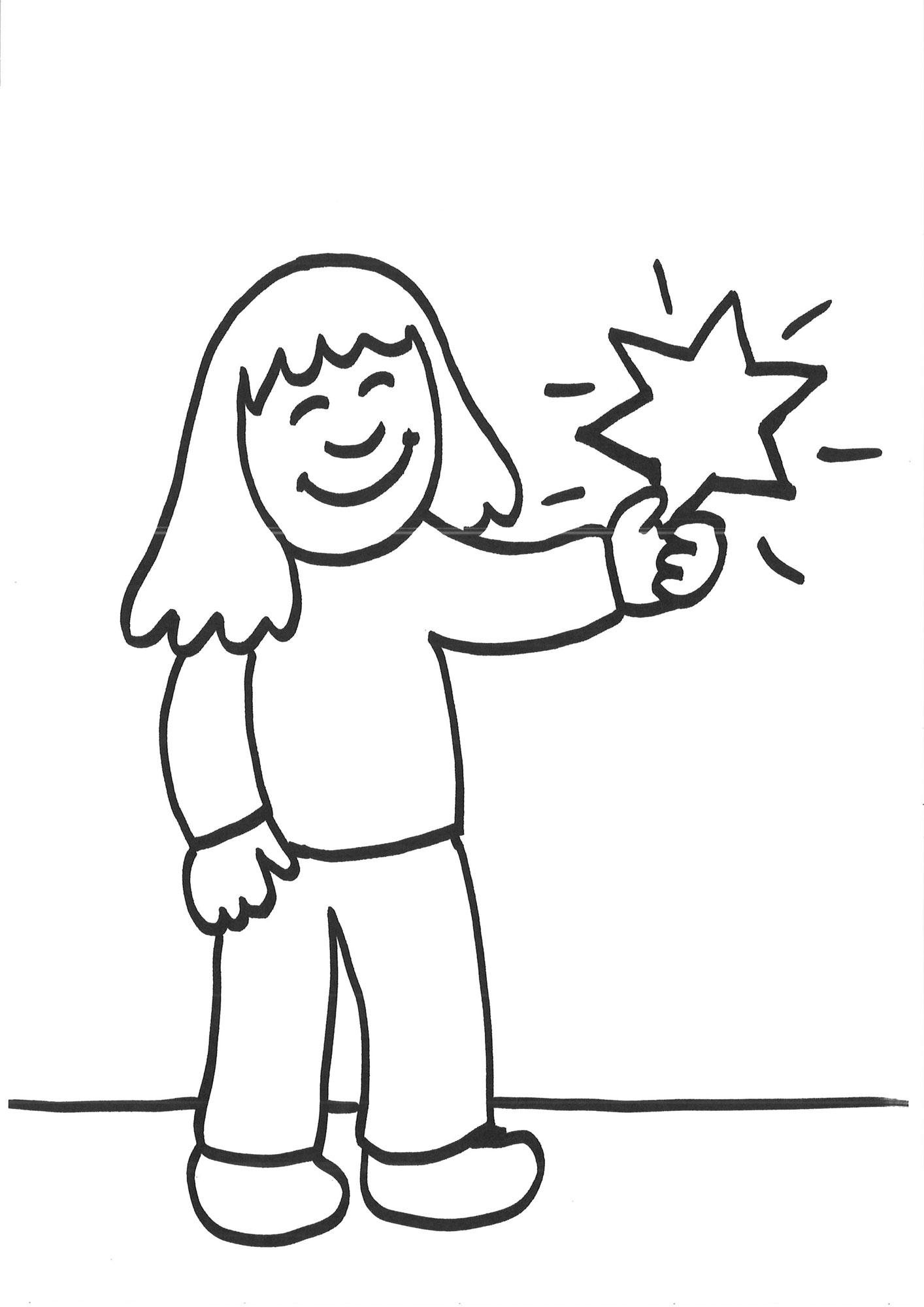 Ausmalbilder Zum Ausdrucken Mädchen : Ausmalbild Schneeflocken Und Sterne M Dchen Mit Stern Ausmalen