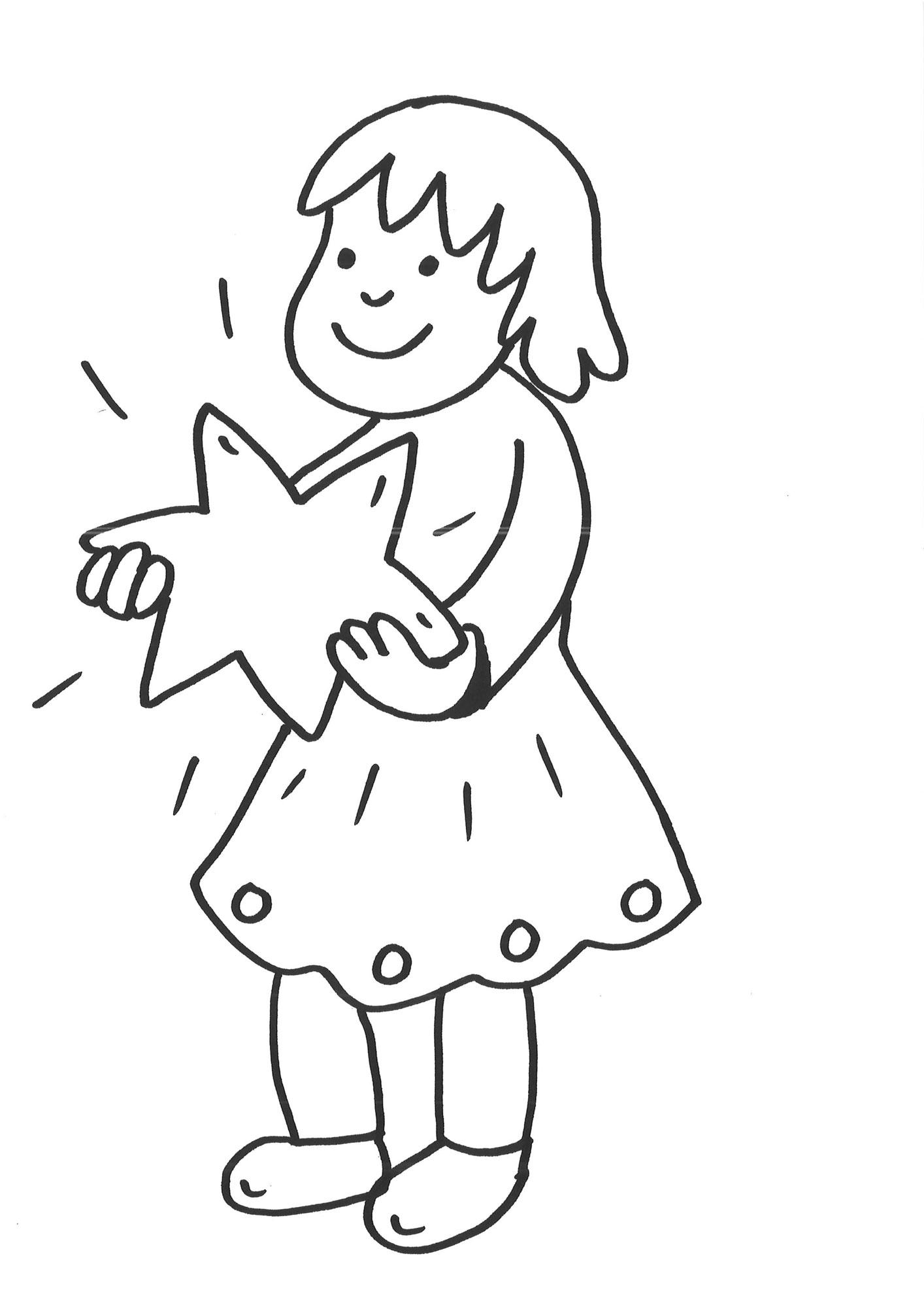 Ausmalbild Schneeflocken Und Sterne Malvorlage Mädchen Mit Stern