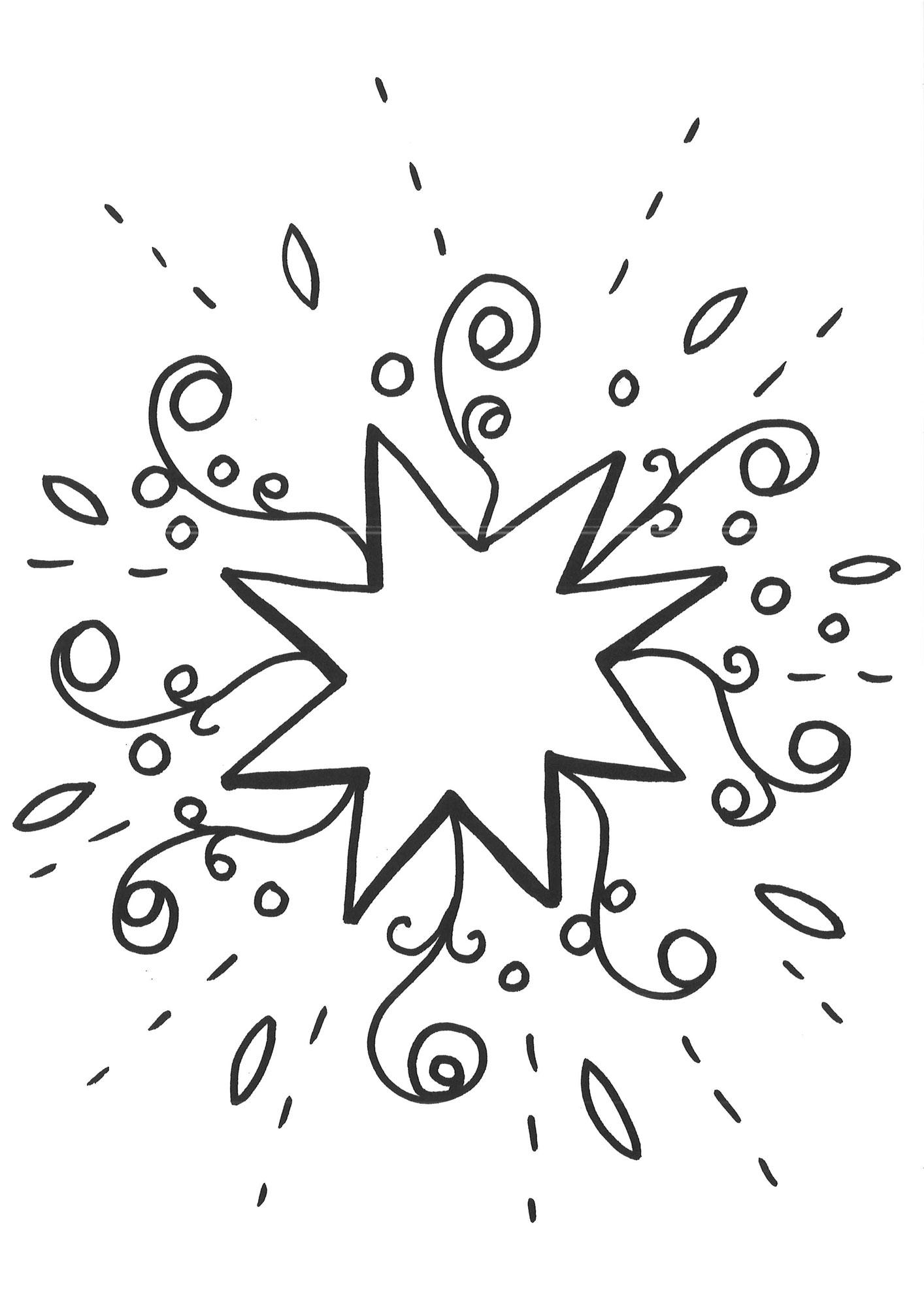 Ausmalbild Schneeflocken Und Sterne Malvorlage Stern 1 Kostenlos
