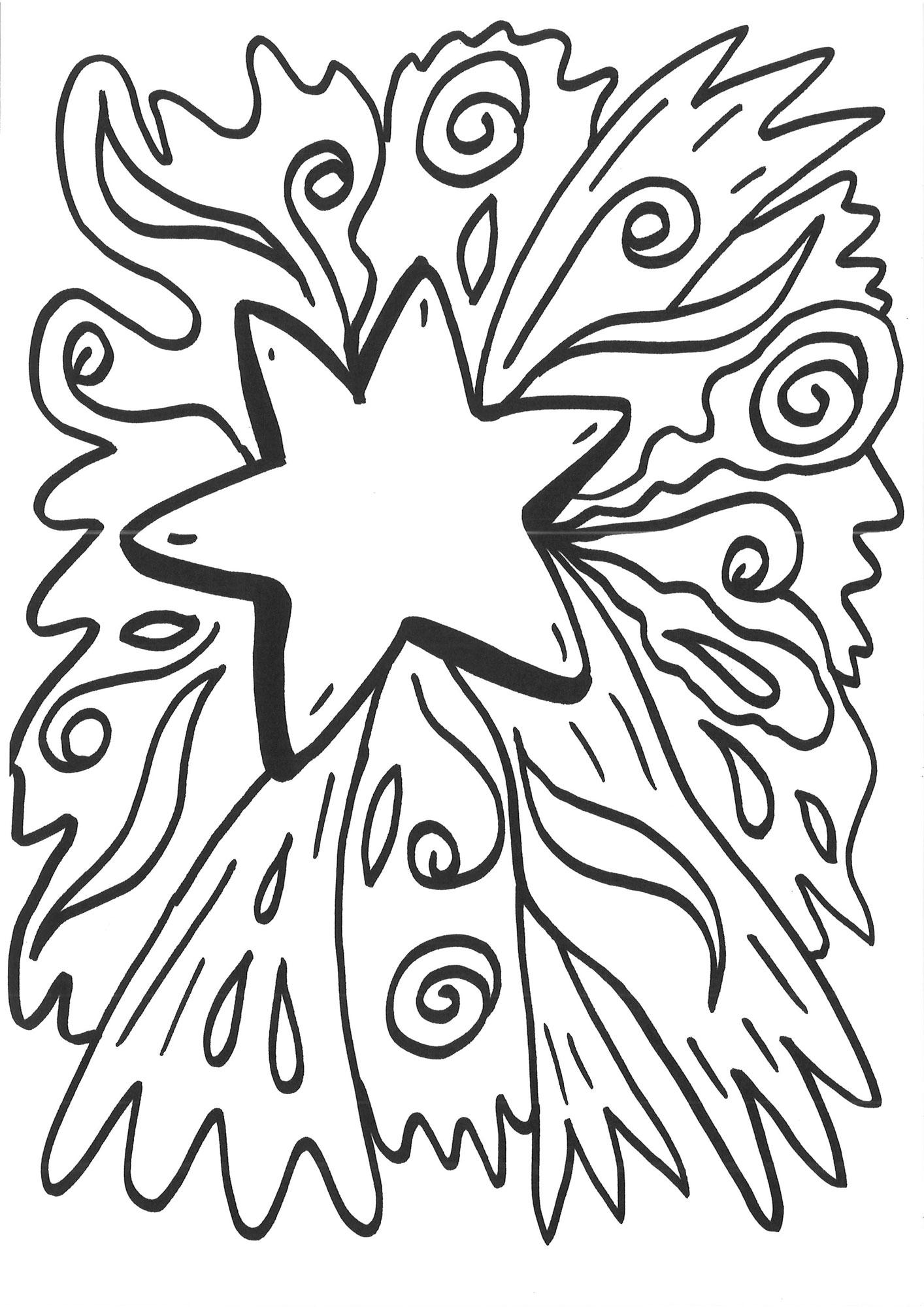 Ausmalbild Schneeflocken und Sterne: Malvorlage Stern 3 kostenlos ...