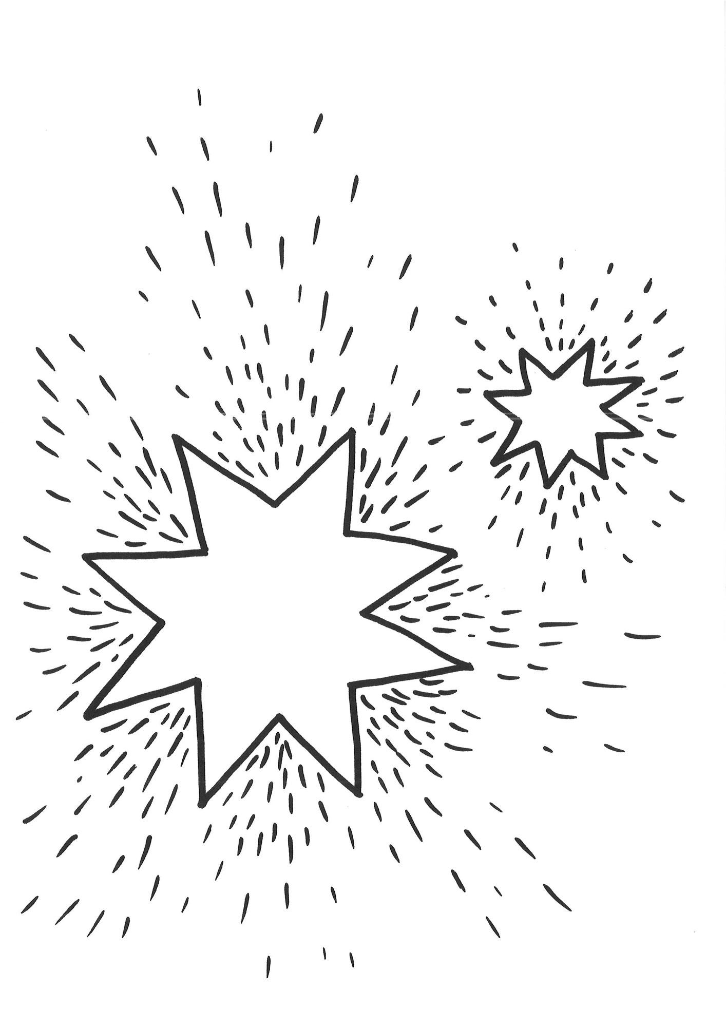 Ausmalbild Schneeflocken und Sterne: Ausmalbild Sterne 1 kostenlos ...
