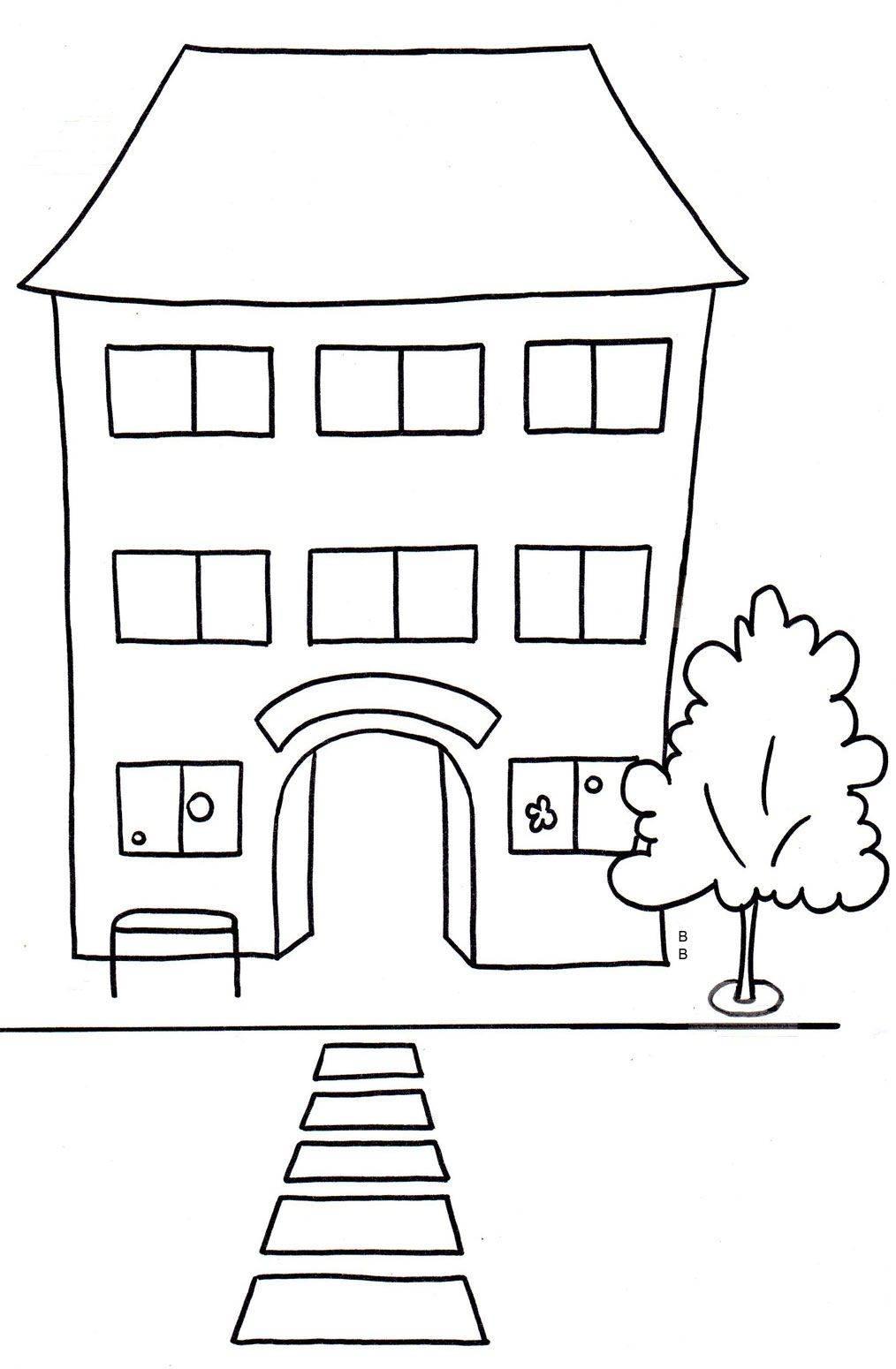 Kostenlose Malvorlage Schule: Schulhaus zum Ausmalen
