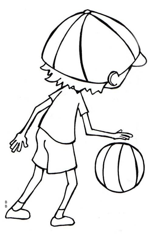 Kostenlose Malvorlage Schule: Basketball zum Ausmalen