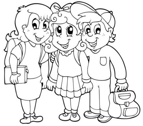 kostenlose malvorlage schule drei grundschüler zum