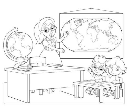 Kostenlose Malvorlage Schule: Schüler im Erdkundeunterricht zum Ausmalen