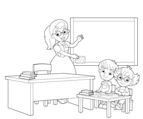 Kostenlose Malvorlage Schule: Grundschüler im Klassenzimmer zum ...