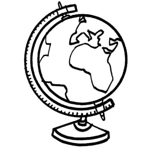 Kostenlose Malvorlage Schule: Globus zum Ausmalen