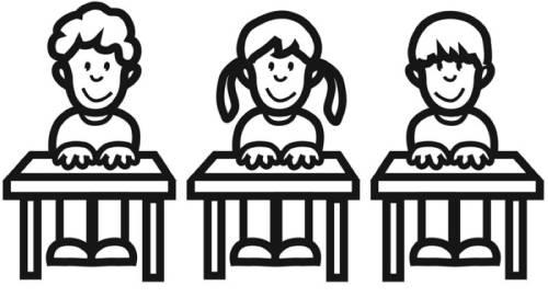Kostenlose Malvorlage Schule: Grundschüler in der Klasse zum Ausmalen