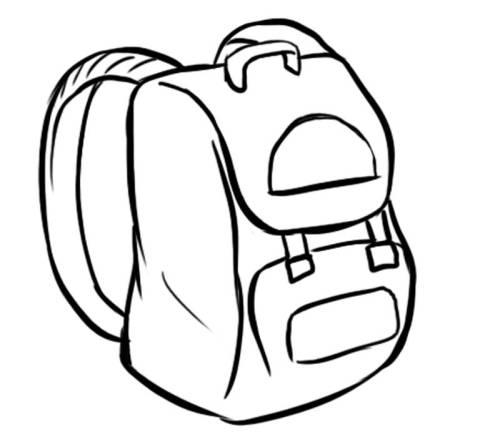 Kostenlose Malvorlage Schule: Schultasche zum Ausmalen