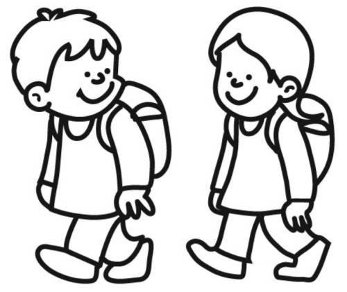 Malvorlagen Für Kinder: Kostenlose Malvorlage Schule: Kinder Auf Dem Schulweg Zum