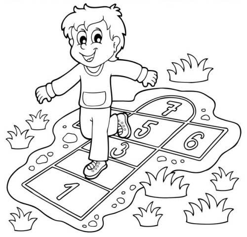Kostenlose Malvorlage Schule Schuler Spielt Kastechenhupfen Zum Ausmalen
